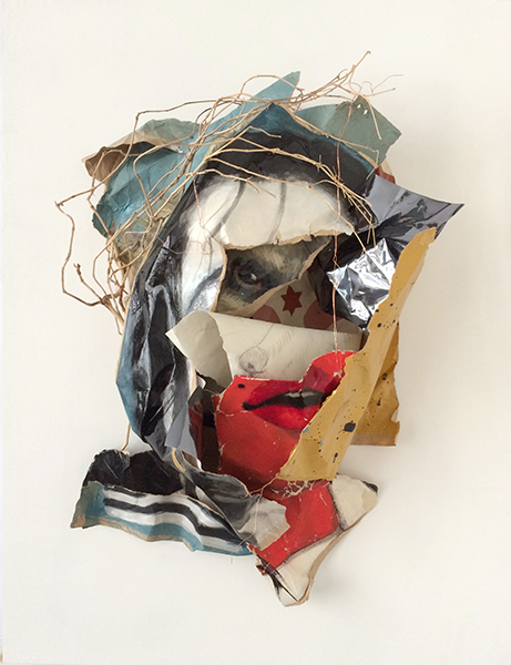 Blazon 5, 2014, acrylic and pencil on paper, mylar, driftwood, copper wire, 77 x 57 x 23 cm (framed)