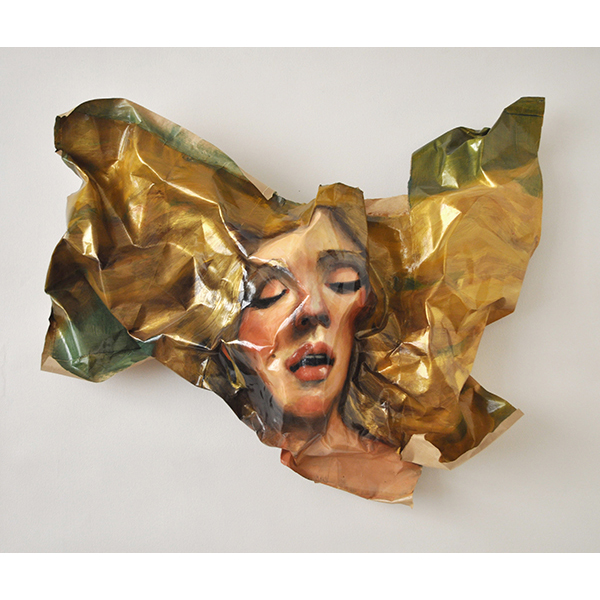 Blonde (med), 2012, acrylic on brown paper, polyurethane, bamboo, 59 x 77 x 20 cm