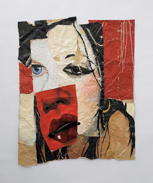 Red Favourite, 2009, acrylic on brown paper, collage, 138 x 110 cm